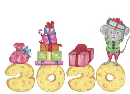 2020 year mouse elf with presents and 2020 new year cheese numbers Zdjęcie Seryjne