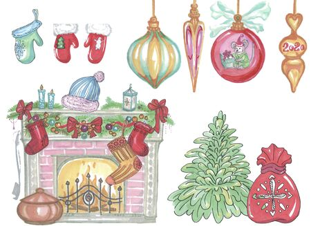 set of christmas new year elements fireplace tree presents gifts toys Zdjęcie Seryjne