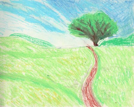green landscape with one tree