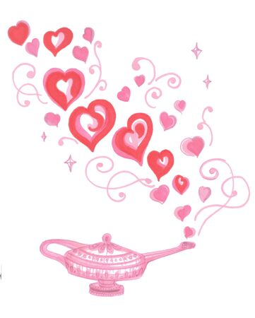 pink magic genie lamp with red hearts