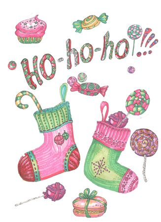 Ho Santa Claus words, christmas socks and candy