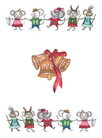 christmas bells and running and dancing mice in suits
