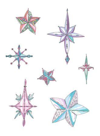 set of christmas stars in pink and blue colors Zdjęcie Seryjne