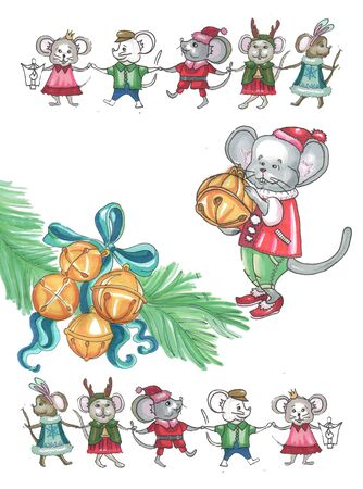 christmas bells and mouse in a suit with a bell