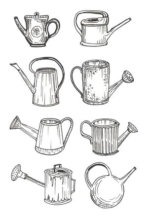 set of garden watering cans isolated Ilustracja