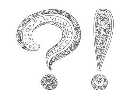 question and exclamation marks in black and white colors Ilustracja