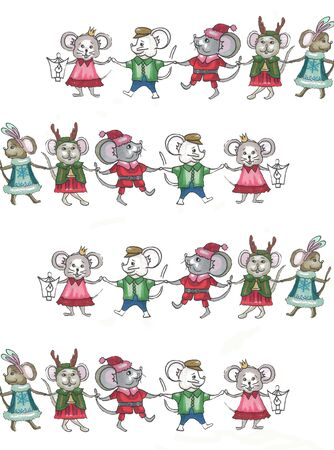 running and dancing mice in christmas suits Reklamní fotografie