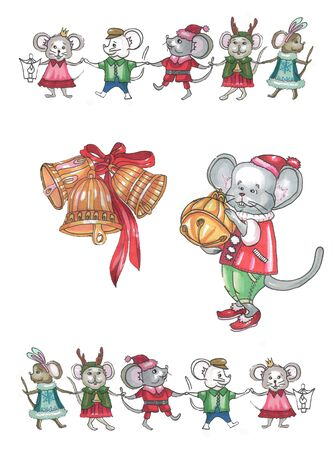 christmas bells, a mouse in a suit with a bell and running and dancing mice in suits around