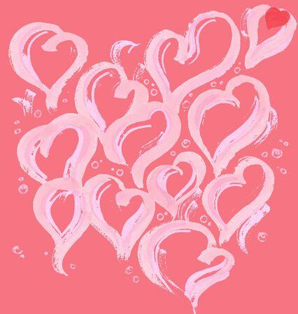 set of light pink hearts on a white background Zdjęcie Seryjne