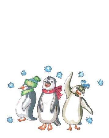 three penguins in scarves and hat wave their wings in greeting