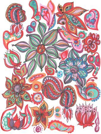 colorful doodle tungle mandala flower pattern on a white background