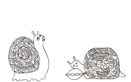 2 little doodle snailson a white background