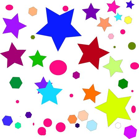 Web colorful stars and geometric shapes of various sizes and colors on a white background