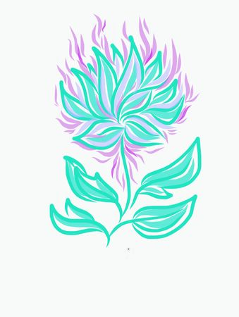 flower lotus blue and pink lines