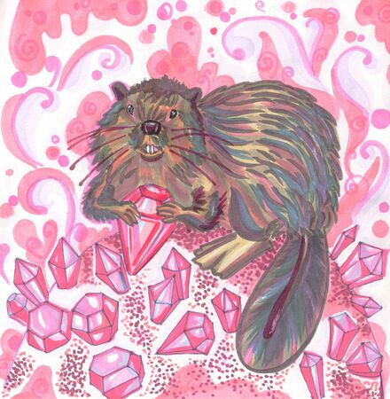 brown beaver sits among pink nature crystals 写真素材 - 143712880