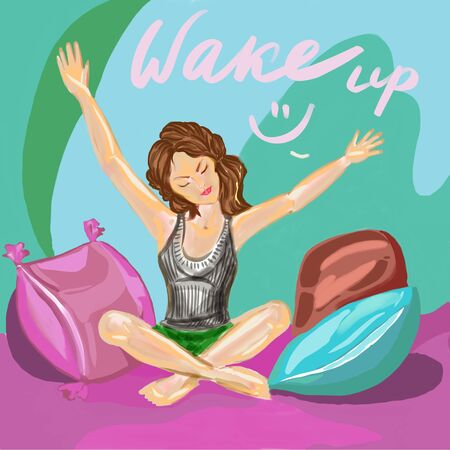 a woman in wake up pose sitting o the bed