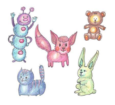 animal toys caterpillar cat fox bear rabbit