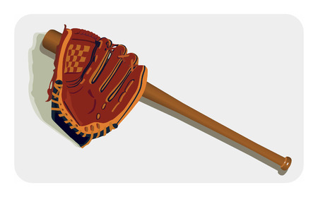 inning: Vector color image of baseball glove and bat.