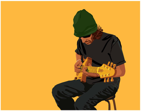 soloist: Vector color image of a guitar-player, man sitting on chair and playing guitar.