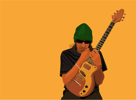 soloist: Vector color image of a guitar-player in sunglasses with electric guitar.
