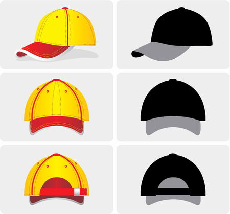 greyscale: Vector image of a baseball cap, color and greyscale. This picture can used as symbols.