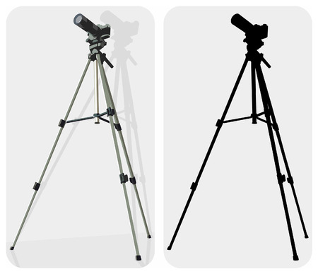 tripod: Vector color and black-white images of camera with tripod, can use as symbol.
