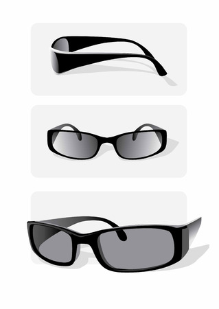 greyscale: Greyscale vector image: three views of a pair of sunglasses. Illustration