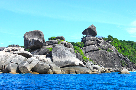 similan islands: Rocky coast of Similan Islands.