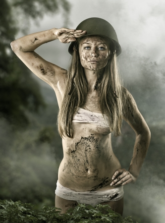 Army sexy girl saluting photo