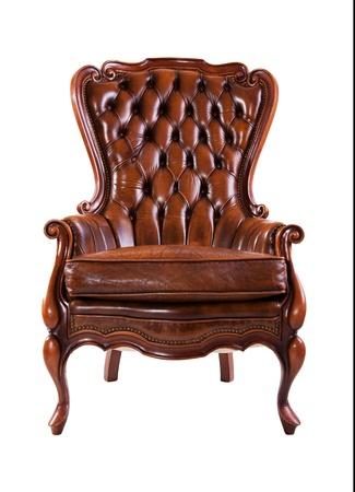 silla de madera: Lujo silla de cuero aislado sobre fondo blanco Foto de archivo