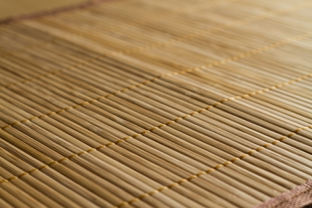 rattan mat: Traditional bamboo pad texture side view Stock Photo