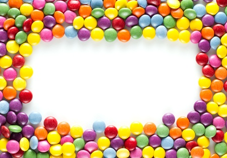 candy border: frame made of Colorful candies Stock Photo