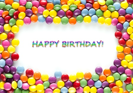 frame made of Colorful happy birthday candies Stock fotó