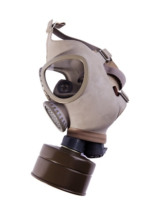 german soldier: Gas mask isolated on white - side view Stock Photo