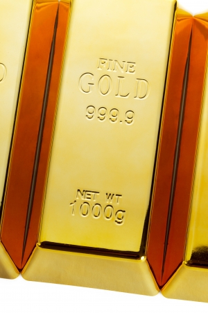 Detail of gold bars background photo