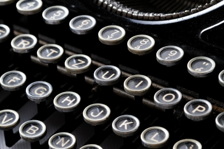 typewriter key: Close up of an old vintage manual typewriter