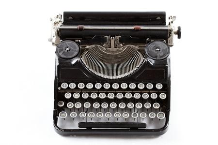 old great amazing typewriter closeup shot isolated on white background photo
