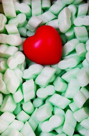 foam box: heart lying on polyfoam package