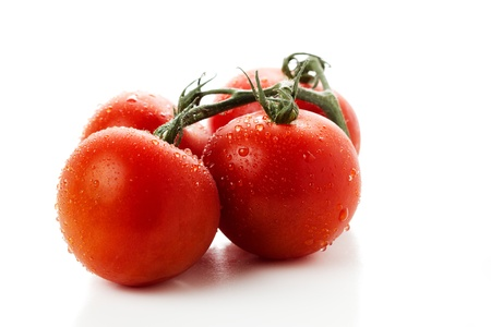 Wet tomatoes on white background photo