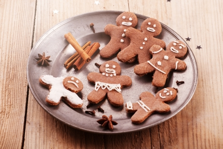 Christmas gingerbread cookies on metal plate  photo