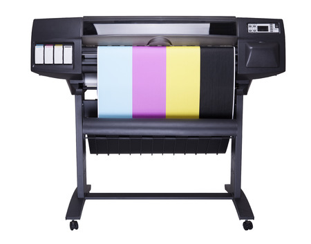 formats: Plotter with roll of paper printed CMYK Colors isolated on white background