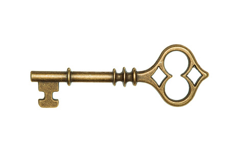 antique golden door key isolated on white background photo