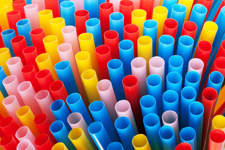 colorful drinking straws photo