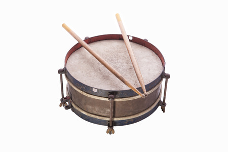 Old drum isolated on white background