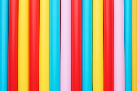 colorful drinking straws in line