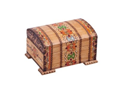 small wooden little chest on a white - closed Stock fotó
