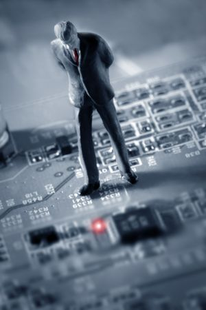 businessman looking at a Red light - help (computer chip) Stock Photo - 304301