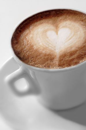 crave: Cup of coffee with a heart Stock Photo