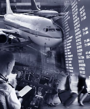 altimeter: Collage of airport ambiance Stock Photo