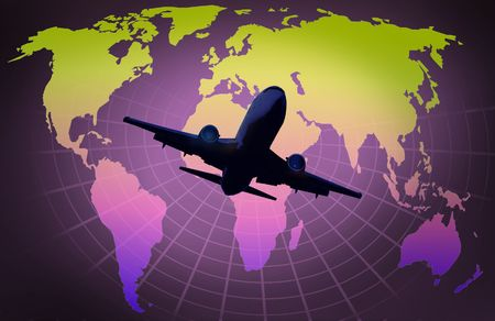 globalisation: world map on grid globe with airplane Stock Photo